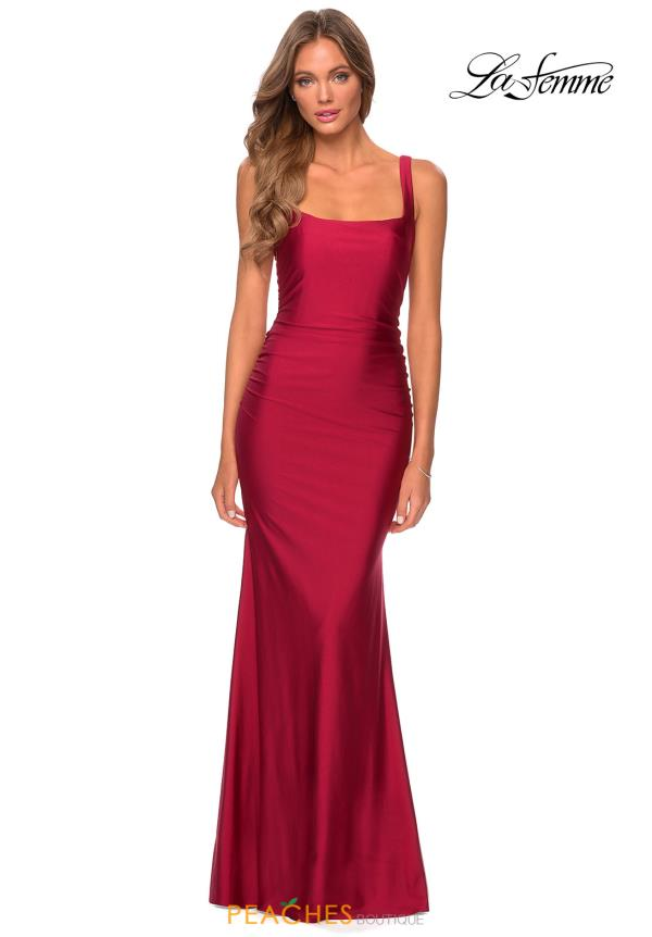 La Femme Long Fitted Dress 28634