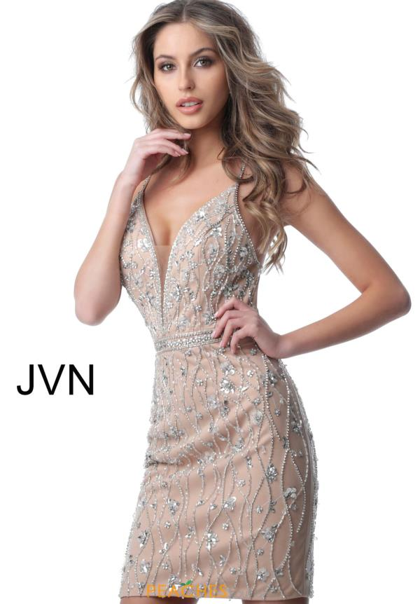 JVN by Jovani V-Neck Beaded Dress JVN2601