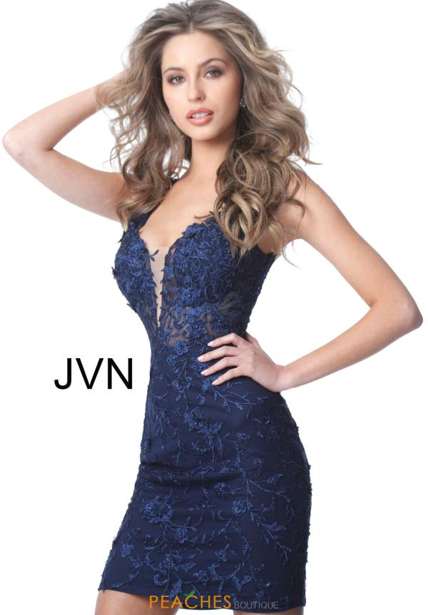 JVN by Jovani V-Neck Applique Dress JVN4270