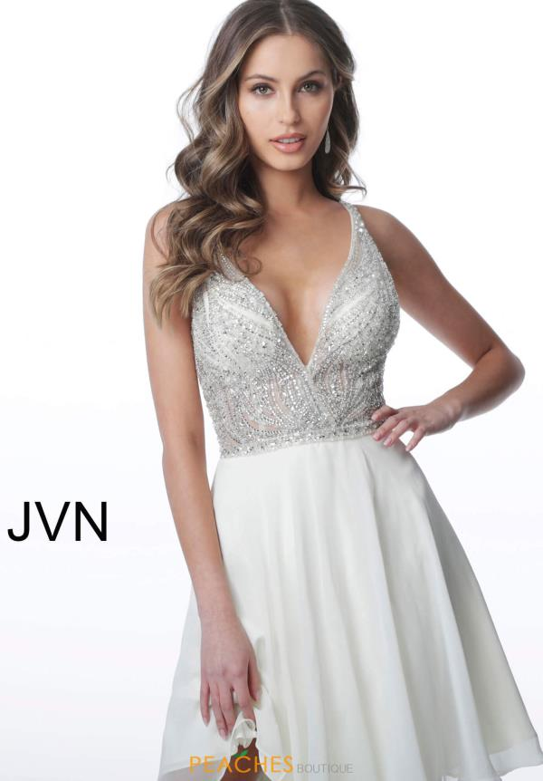 JVN by Jovani V-Neck Chiffon Dress JVN4278