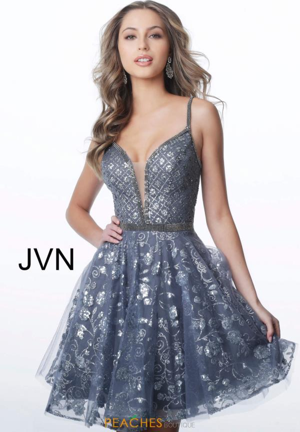 JVN by Jovani V-Neck Beaded Dress JVN4298
