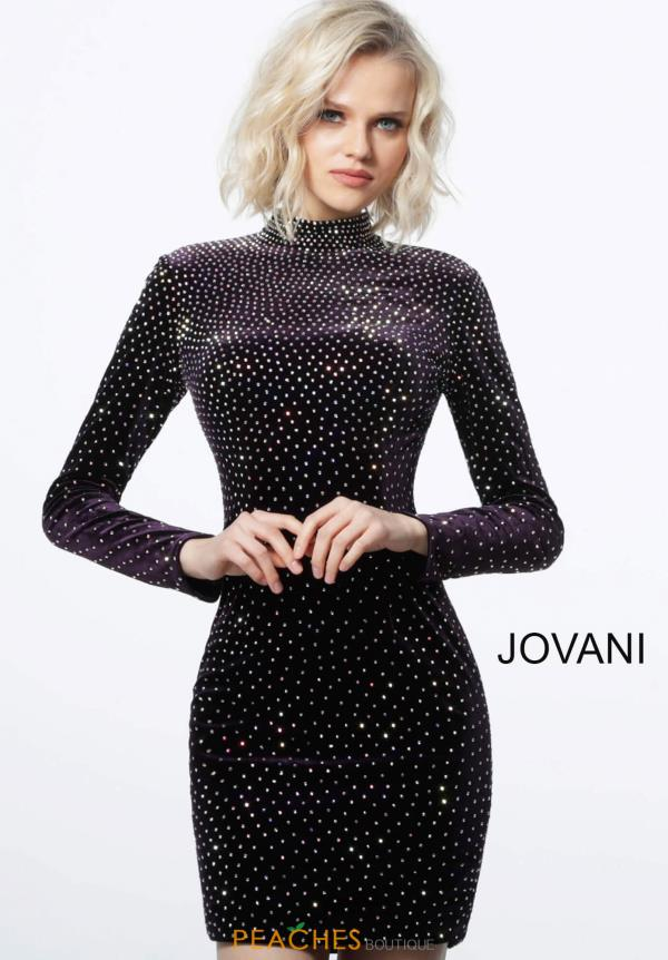 Jovani Short Long Sleeve Velvet Dress 1421