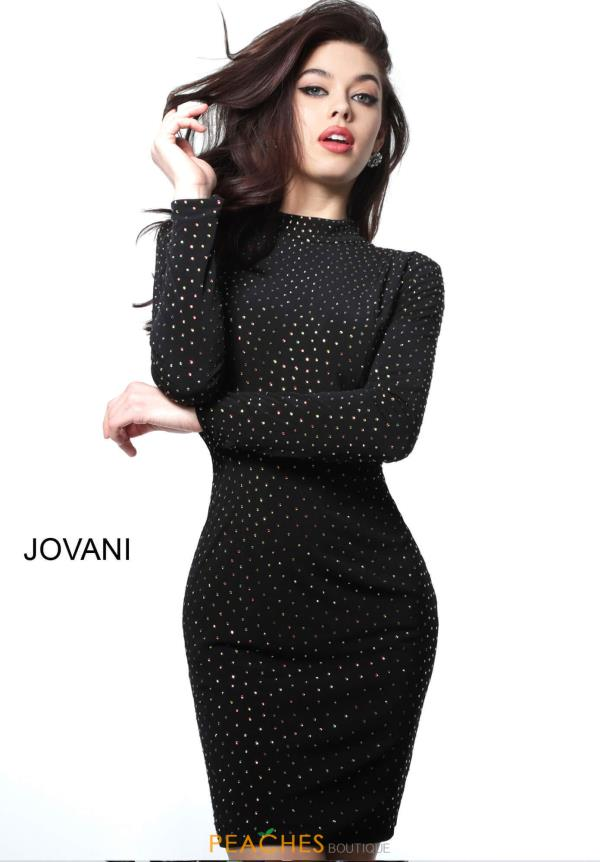 Jovani Short Long Sleeve Jersey Dress 1460