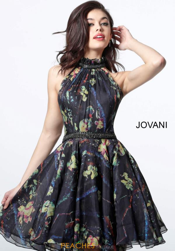 Jovani Short High Neckline Organza Dress 2026