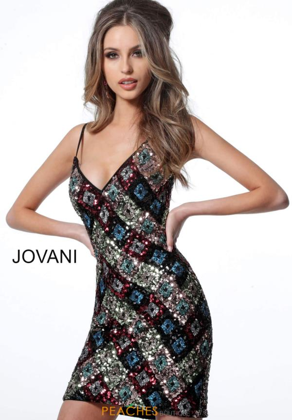Jovani Short V-Neck Sequins Dress 2108