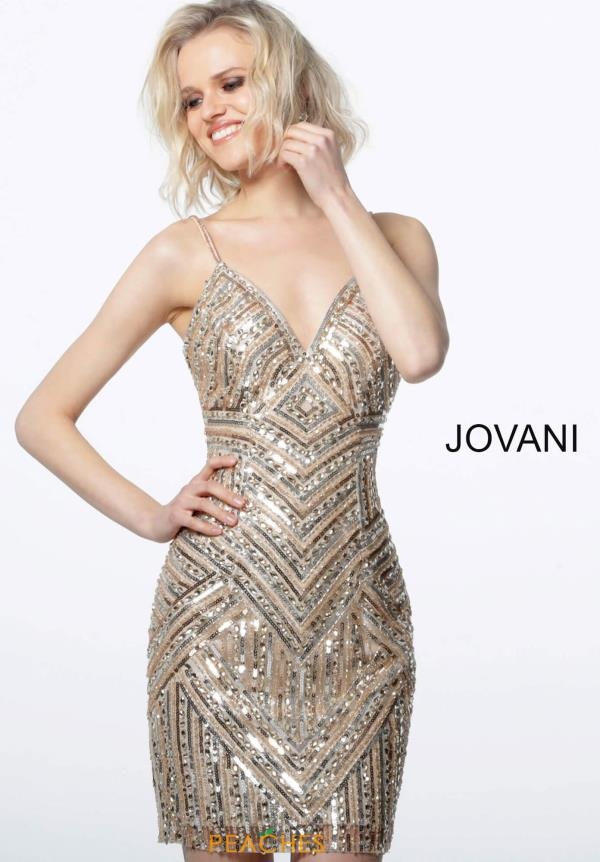 Jovani Short V-Neck Beaded Dress 3233
