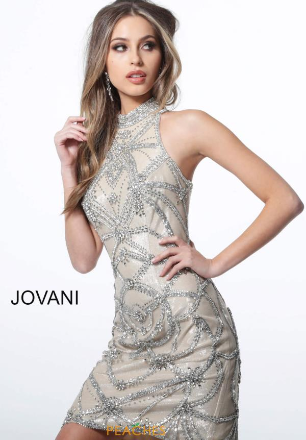 Jovani Short High Neckline Beaded Dress 4295