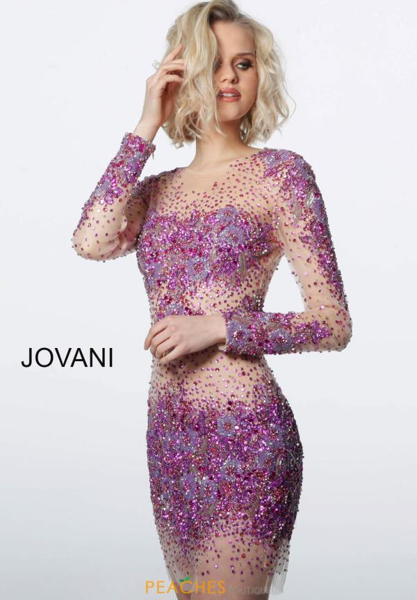 Jovani Short High Neckline Beaded Dress 47598