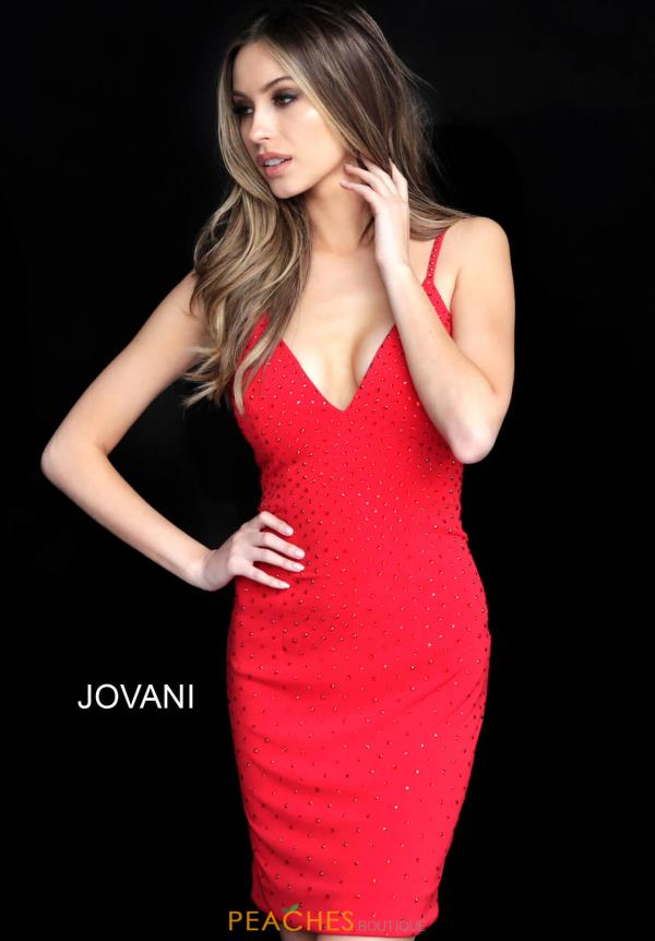Jovani Short V-Neck Jersey Dress 63559