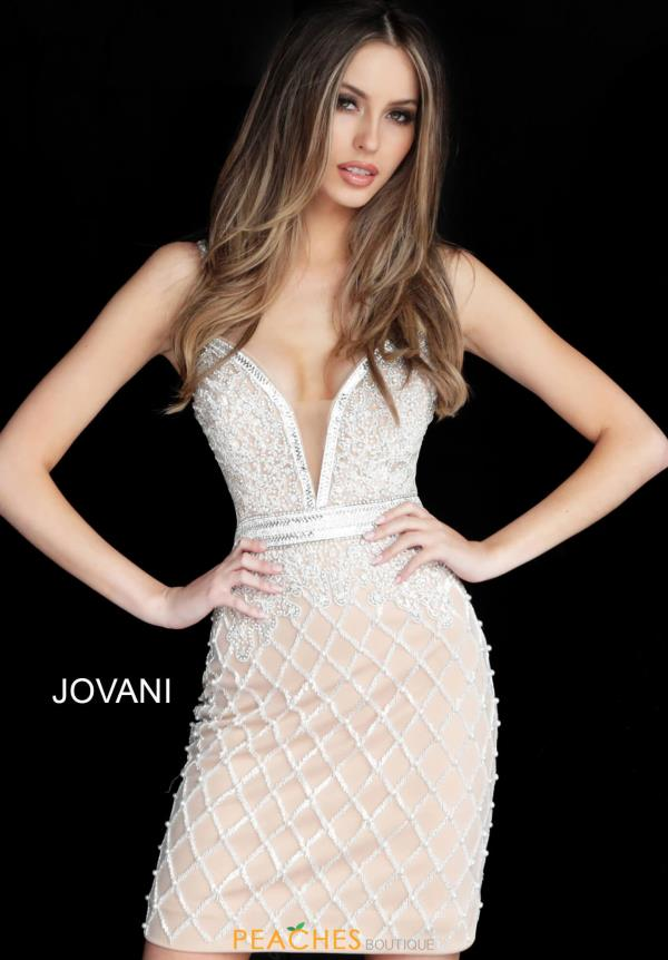 Jovani Short V-Neck Beaded Dress 64267
