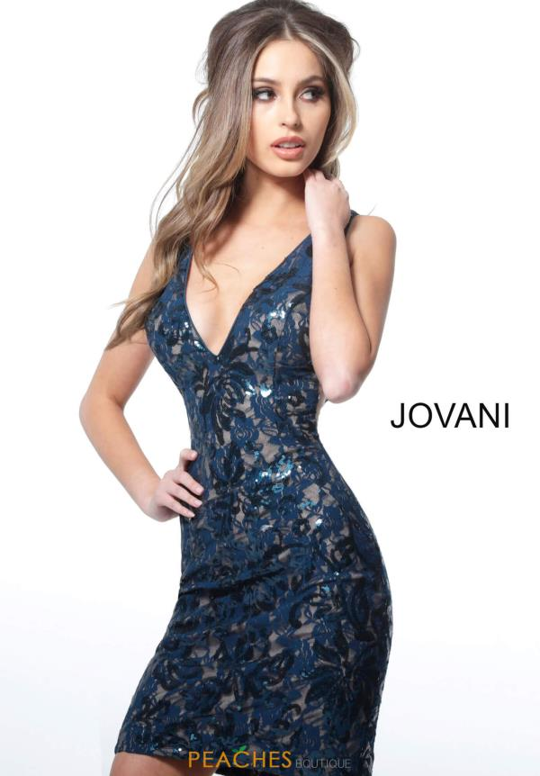 Jovani Short V-Neck Lace Dress 66315