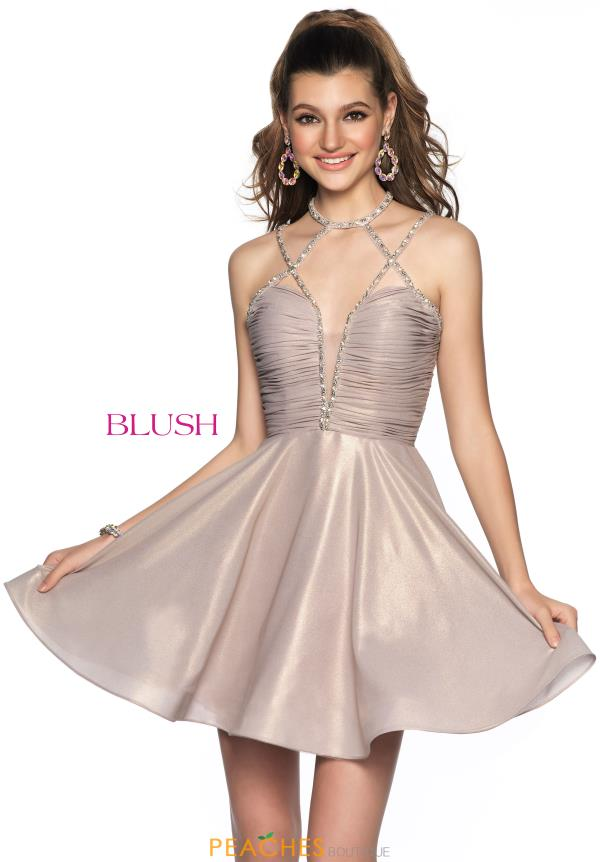Blush V-Neck Glitter Dress 11819