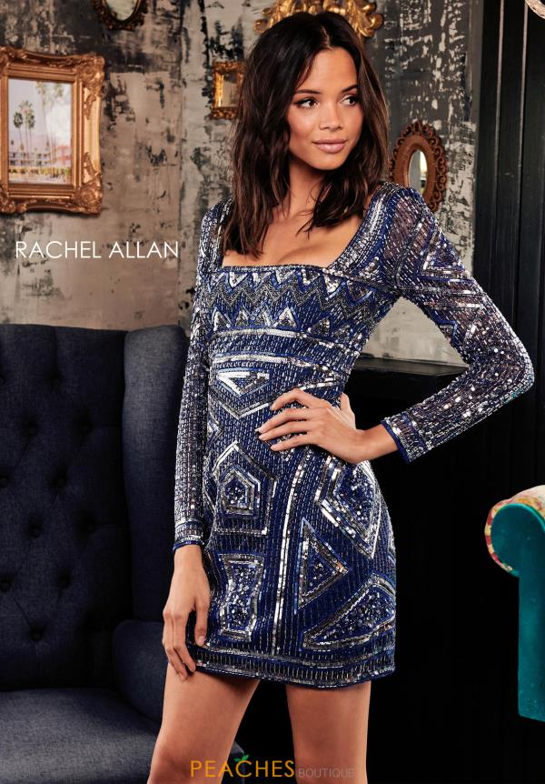 Rachel Allan Sleeved Beaded Dress 4000