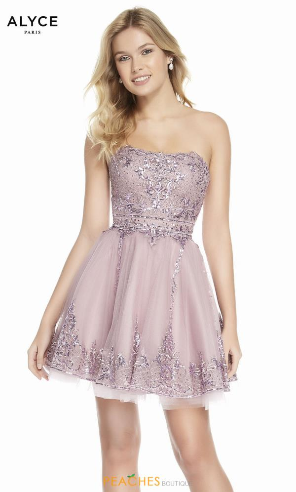 Alyce Paris Strapless A Line Dress 3841