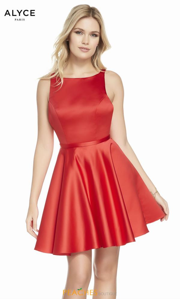 Alyce Paris High Neckline Satin Dress 3872