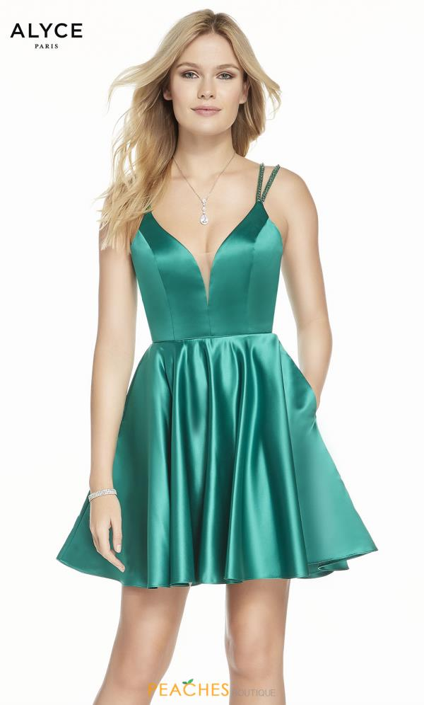 Alyce Paris Satin A Line Dress 3874