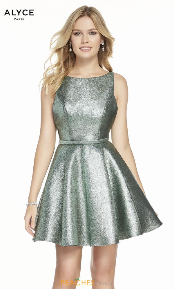 Alyce Paris High Neckline Glitter Dress 3917