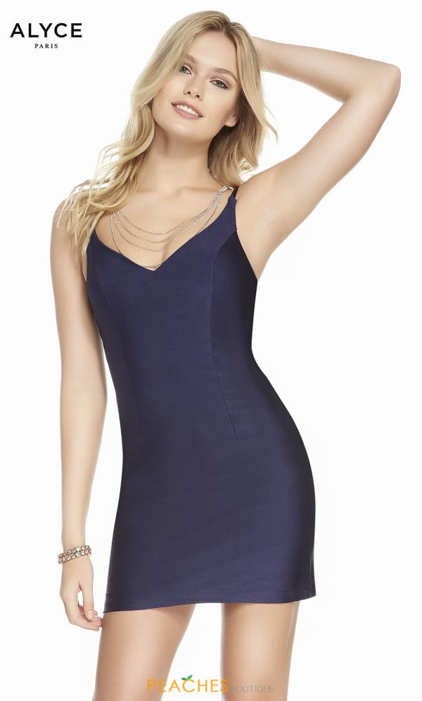 Alyce Paris V-Neck Jersey Dress 4088