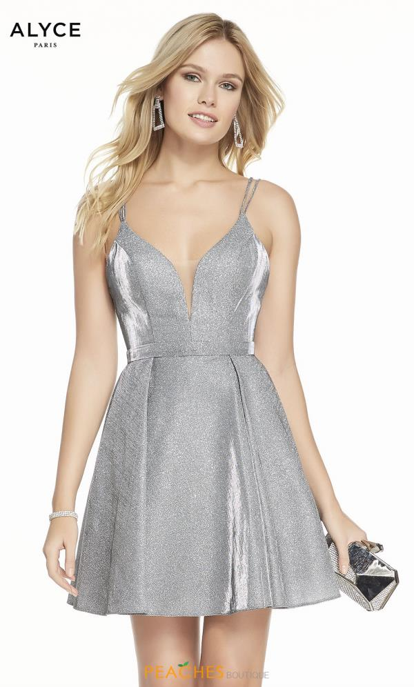 Alyce Paris V-Neck Glitter Dress 4187