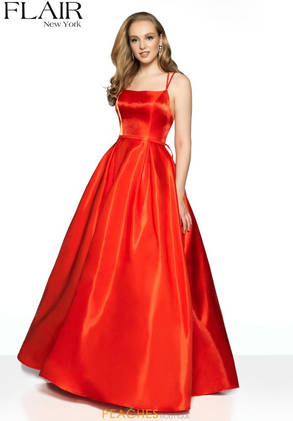 Flair Long Red Dress 19405