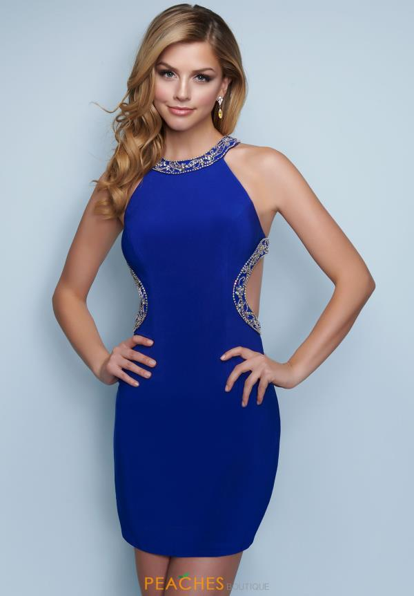 Splash High Neckline Beaded Dress E842
