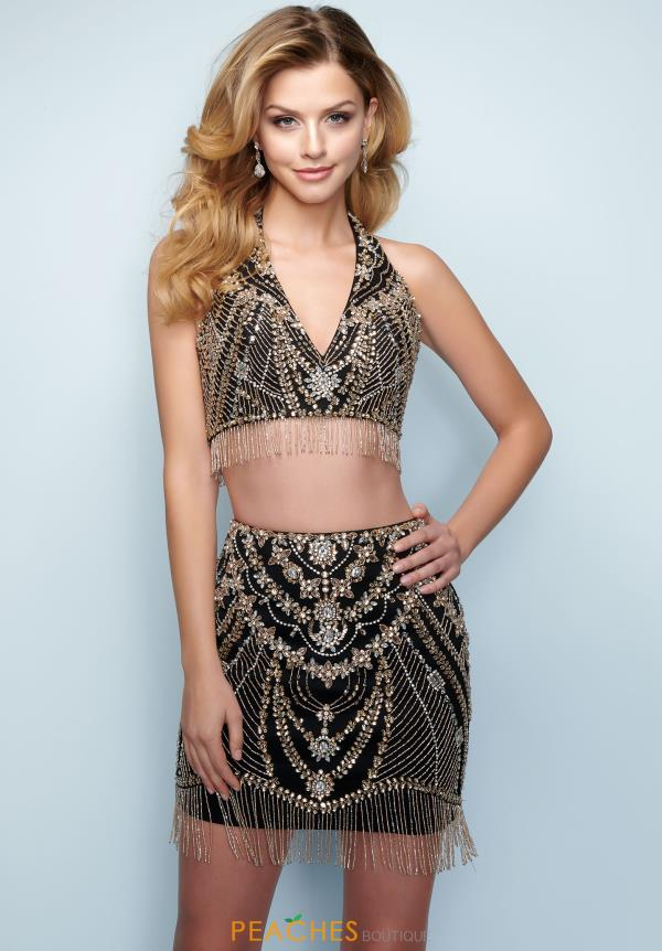 Splash Two Piece Beaded Dress E848