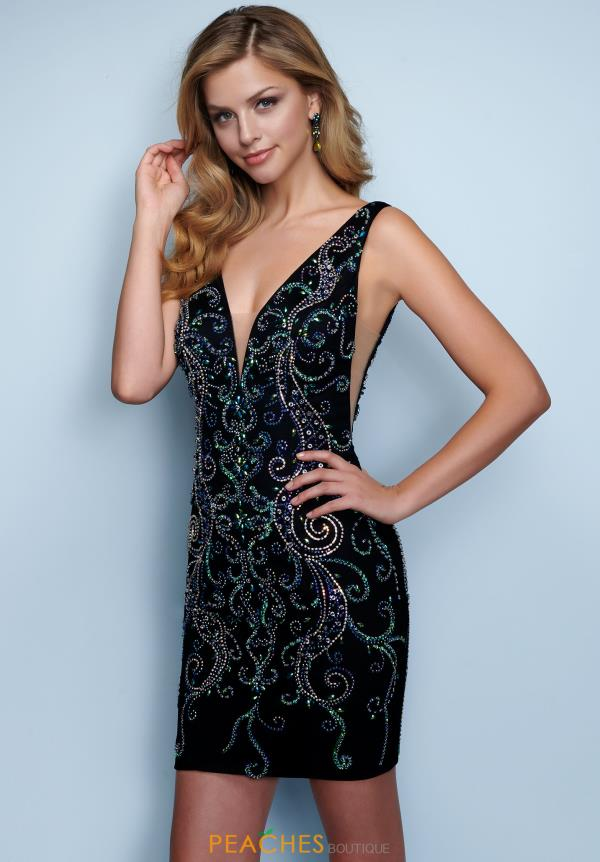 Splash V-Neck Beaded Dress E858
