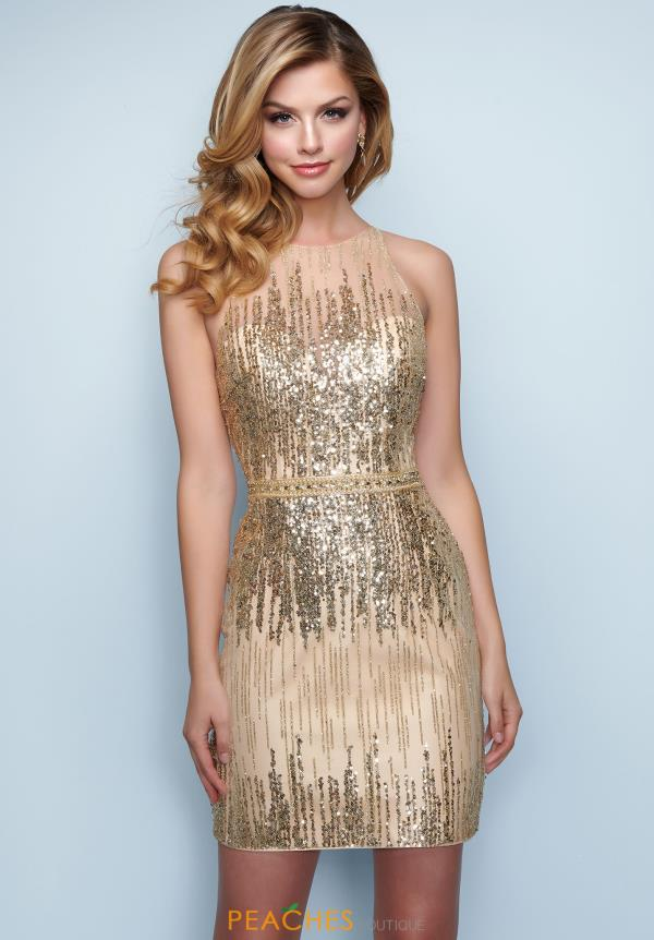 Splash High Neckline Sequins Dress E864