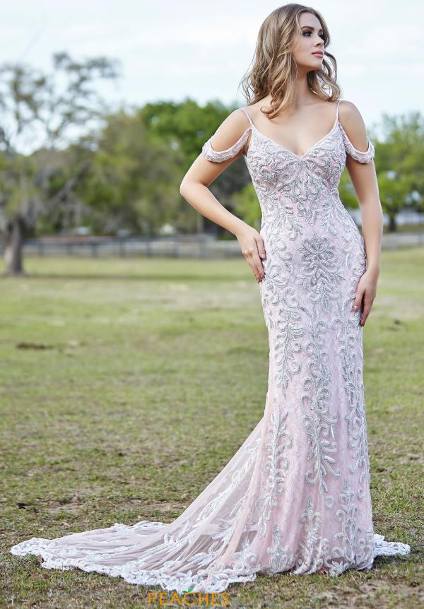 Primavera Cap Sleeved Beaded Dress 3382