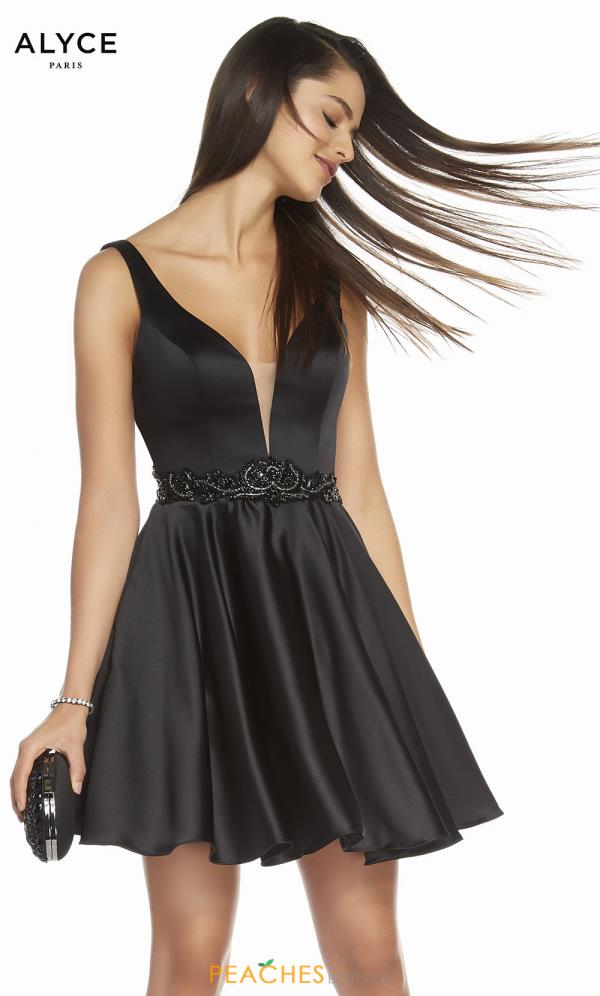 Alyce Paris V- Neckline A Line Dress 1464