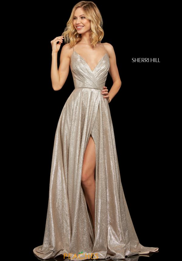 Sherri Hill V- Neckline A Line Dress 52977