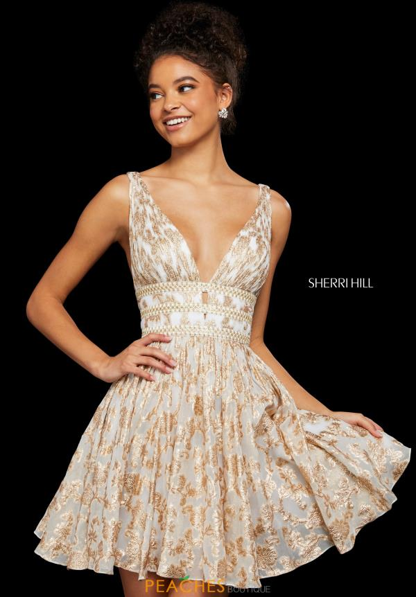 Sherri Hill Short V- Neckline A Line Dress 52965