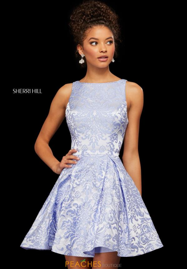 Sherri Hill Short High Neckline Lace Dress 52982
