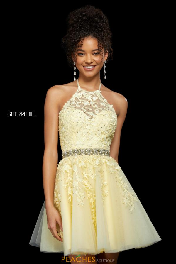 Sherri Hill Short Lace A Line Dress 53153