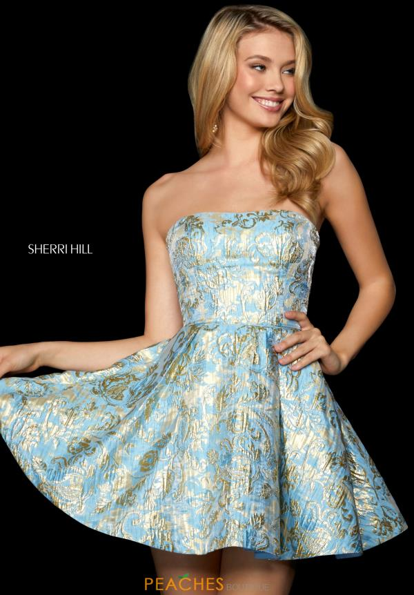 Sherri Hill Short Strapless A Line Dress 53255