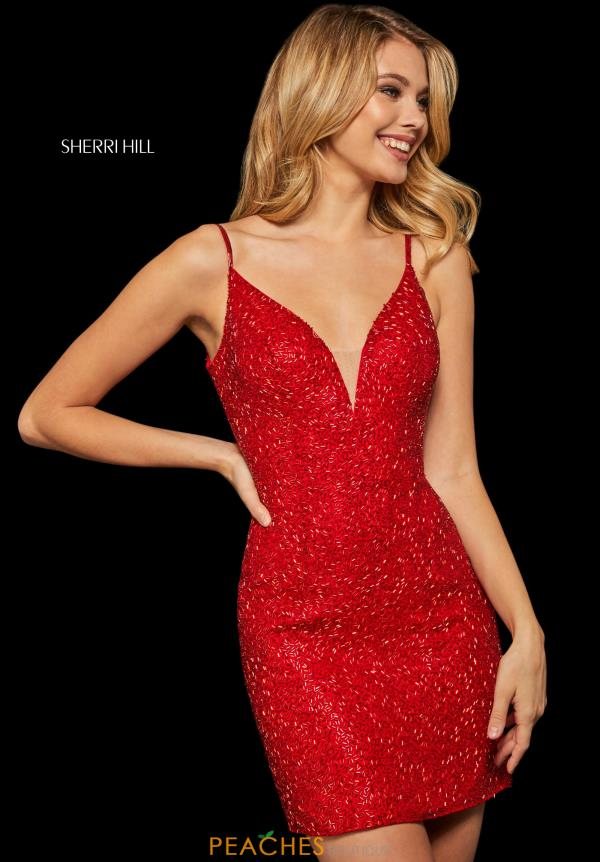 Sherri Hill Short V- Neckline Beaded Dress 52991