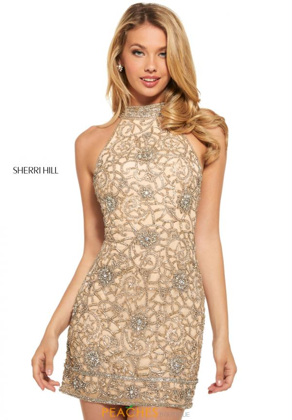 Sherri Hill Short High Neckline Beaded Dress 53017