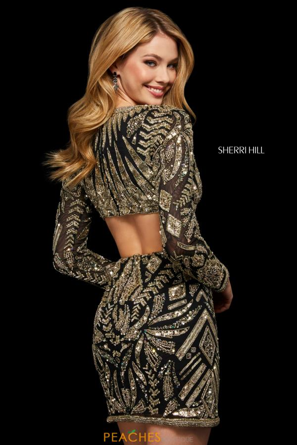 Sherri Hill Short V- Neckline Fitted Dress 53038