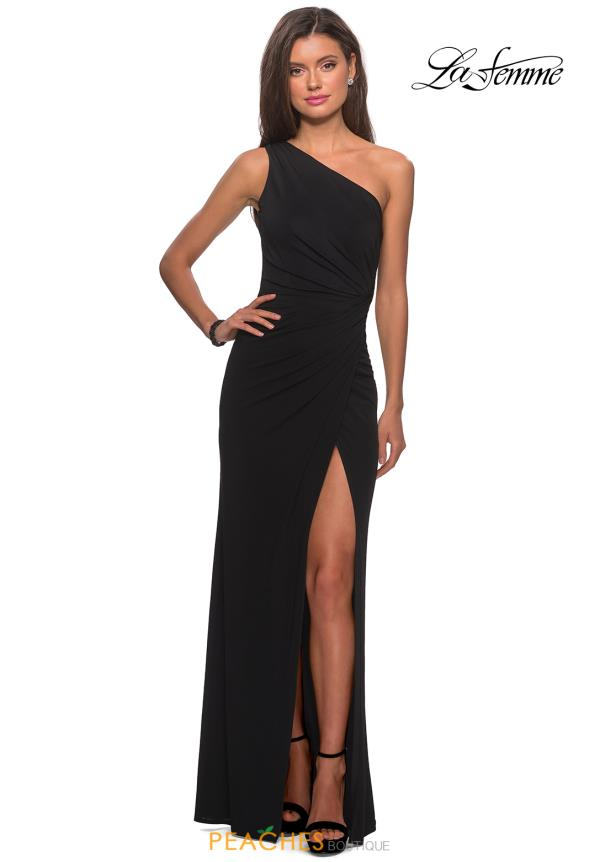 La Femme Fitted Black Dress 28135