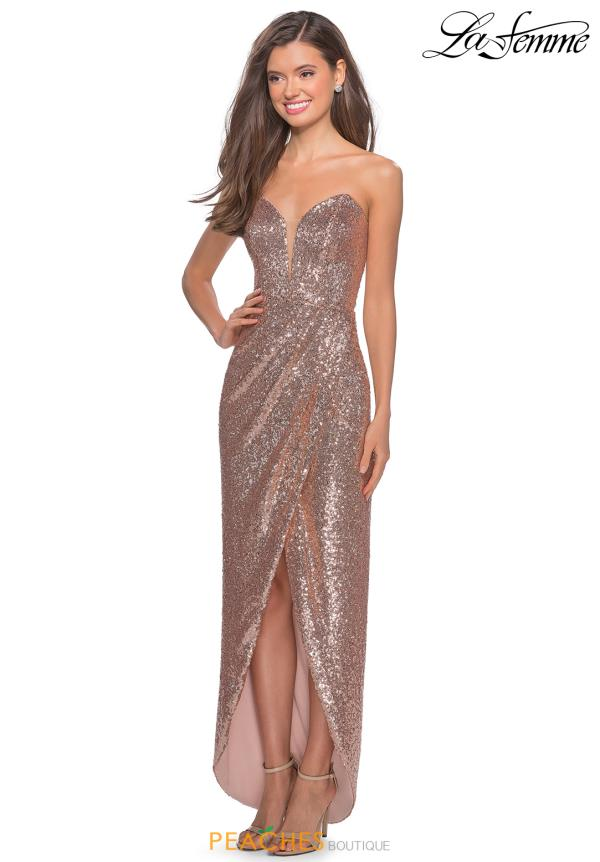 La Femme Long Fitted Dress 28180