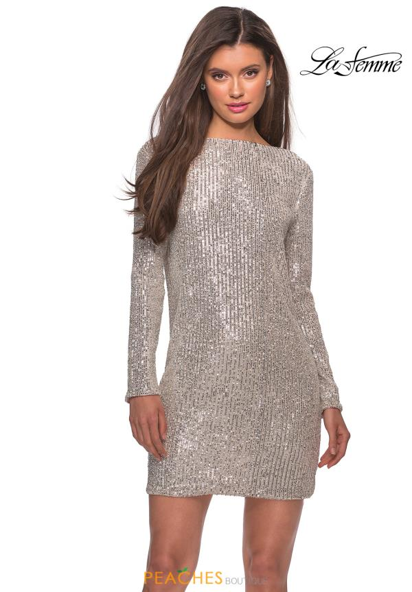 La Femme Short Sequins Dress 28194