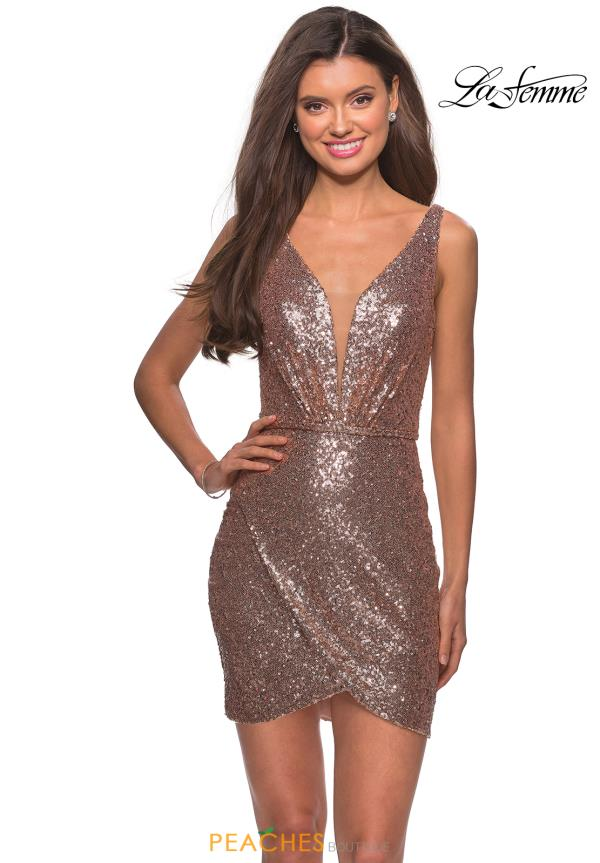 La Femme Short V- Neckline Sequins Dress 28218