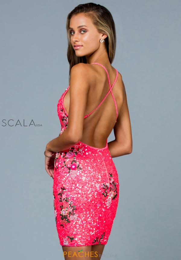Scala V- Neckline Sequins Dress 60041