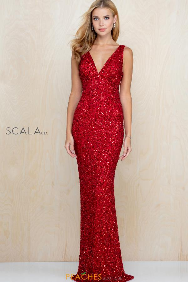 Scala V- Neckline Beaded Dress 48883