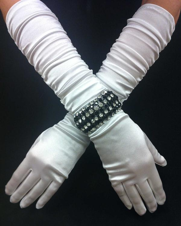White Scrunchy Elegant Long Gloves