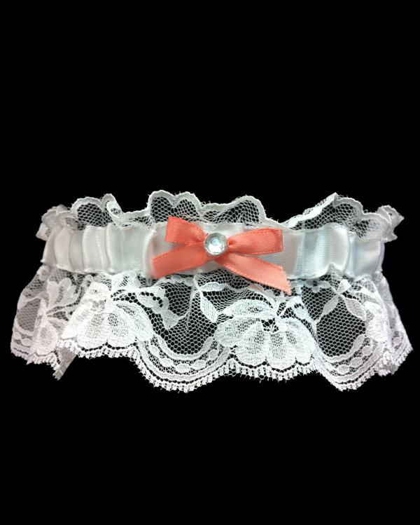 Vibrant Coral Lace Prom Garter