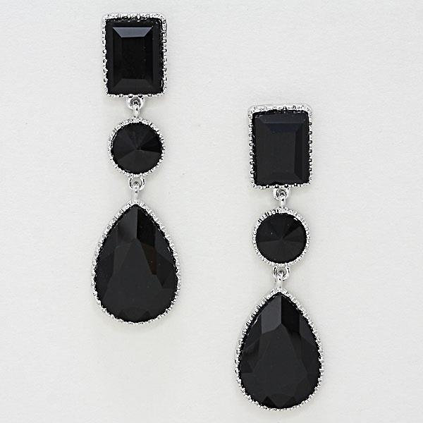 SE2987 Classy Black Teardrop Earrings