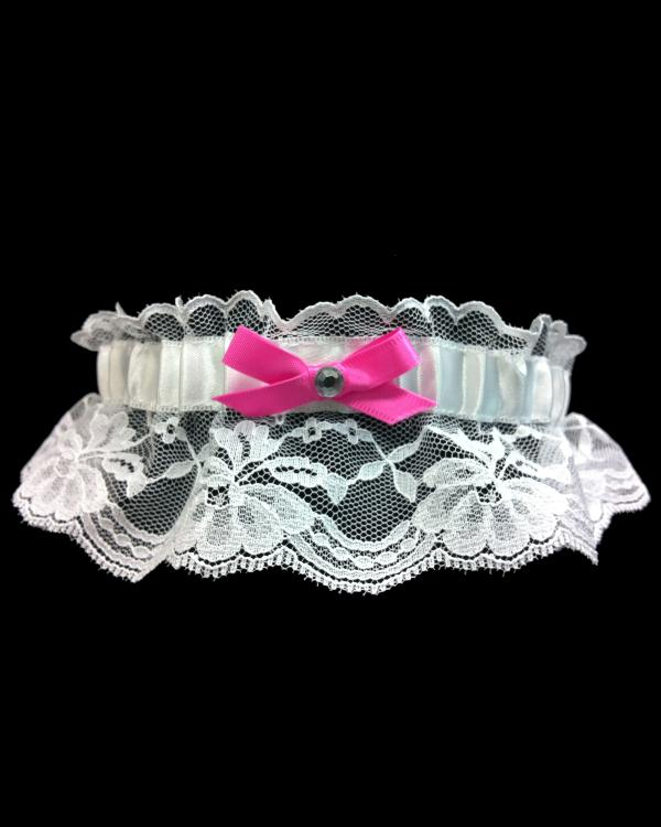 Stretch Fuchsia Lace Prom Garter