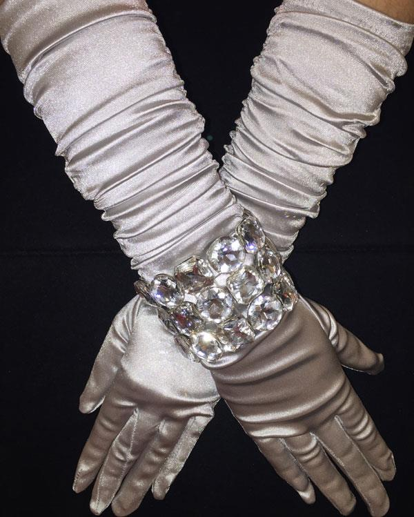 Silver Scrunchy Bright Long Gloves