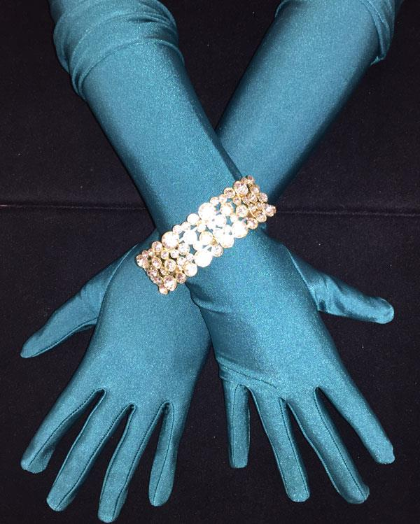 Teal Green Matte Long Beautiful Gloves
